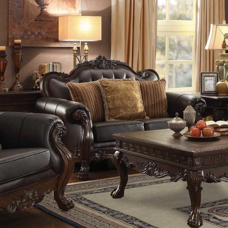 Coaster Amairani Leather Traditional Detail Loveseat in Dark Brown