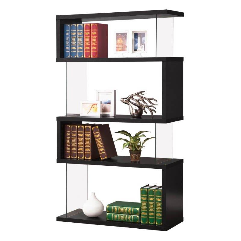 Coaster Asymemtrical Snaking Bookshelf in Black