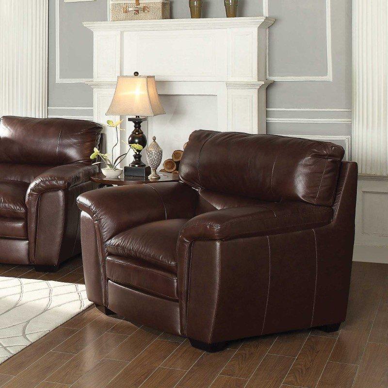 Coaster Burton Leather Chair in Burgundy