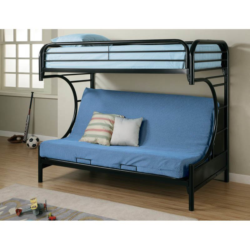 Coaster C Style Metal Twin over Futon Bunk Bed in Black Finish