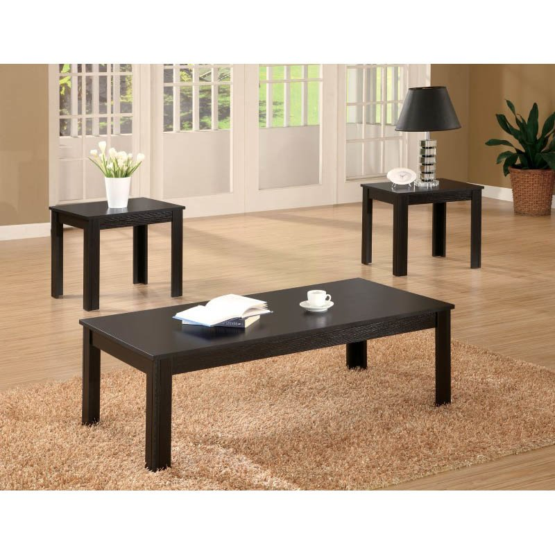 Coaster Casual 3 Piece Occasional Table Set in Black