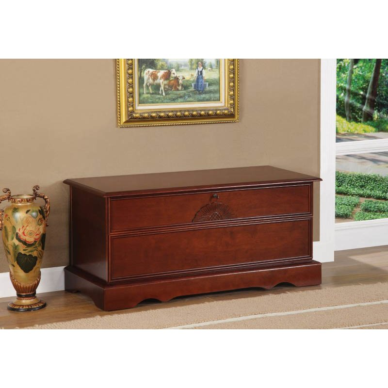 Coaster Cedar Chest with Locking Lid in Cherry