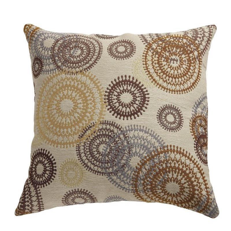 Coaster Circle Motif Throw Pillows in Brown