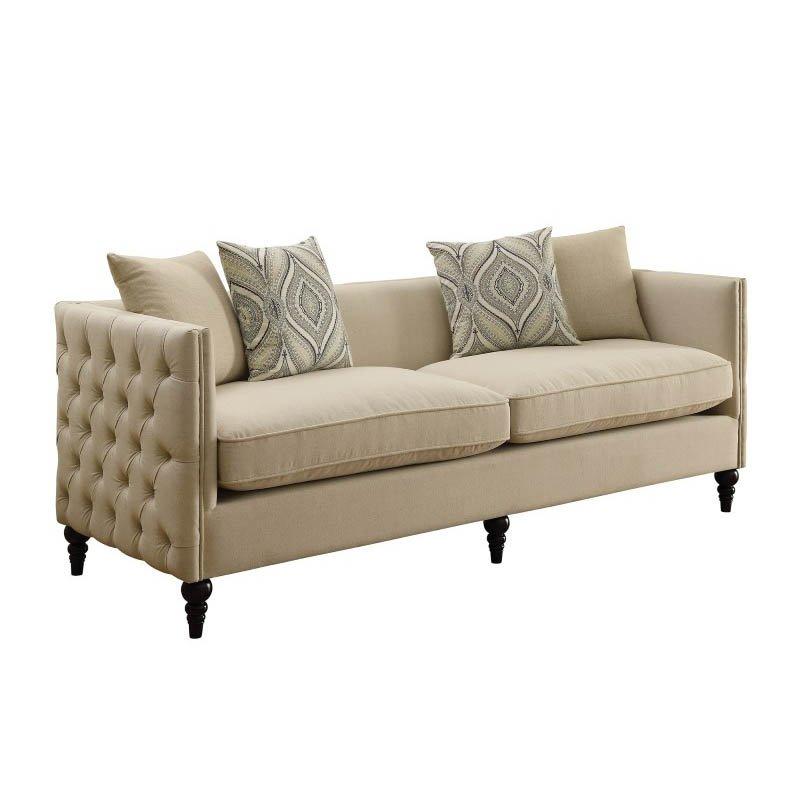 Coaster Claxton Tufted Fabric Sofa in Beige