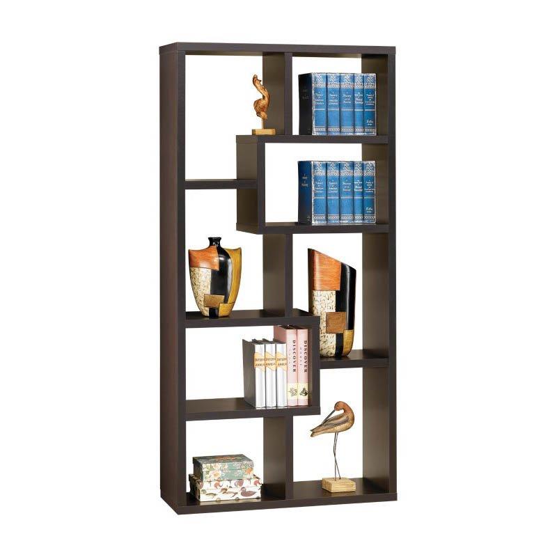 Coaster Contemporary Asymmetrical Cube Bookcase in Deep Cappuccino Finish