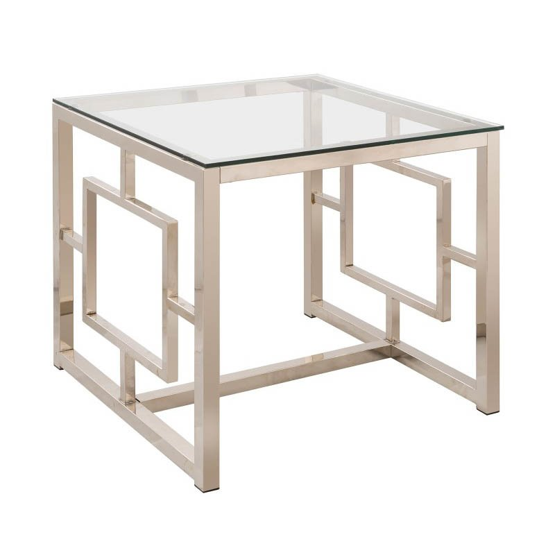Coaster Contemporary End Table in Satin Nickel