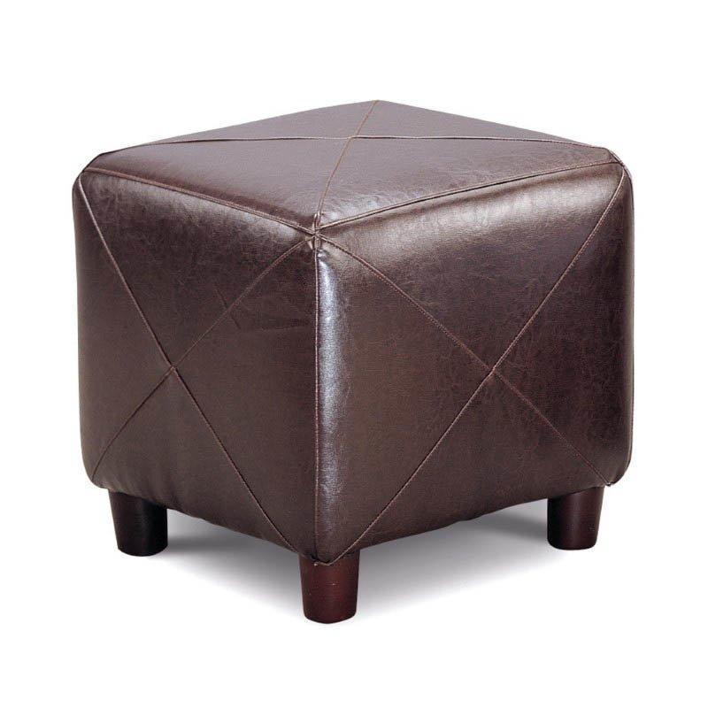 Coaster Contemporary Faux Leather Cube Ottoman in Dark Brown