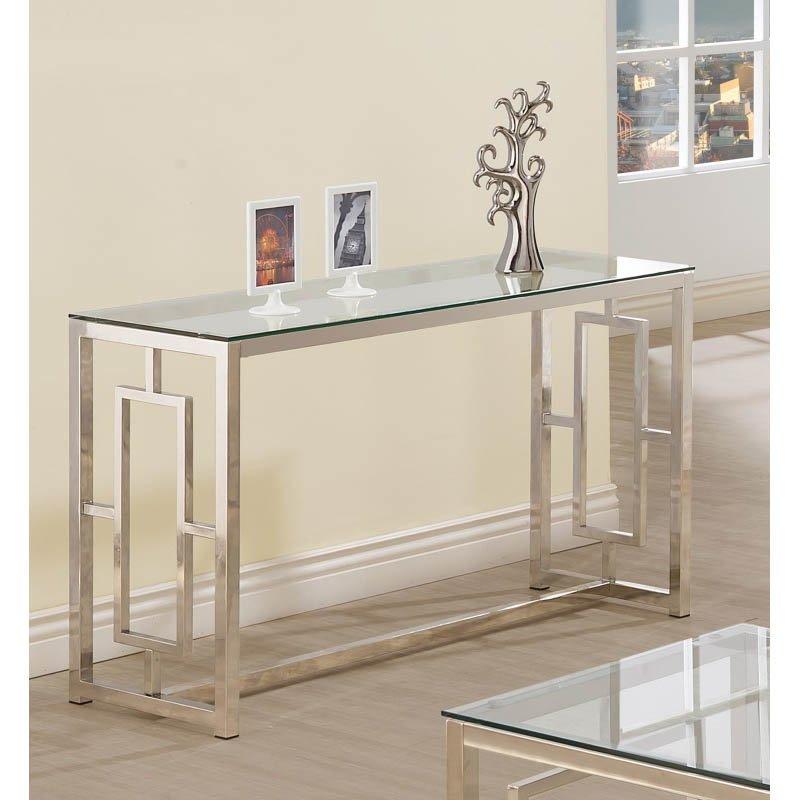 Coaster Contemporary Glass Top Sofa Table in Satin Nickel