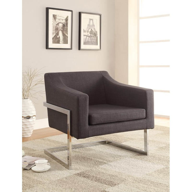Coaster Contemporary Metal Frame Accent Chair in Gray