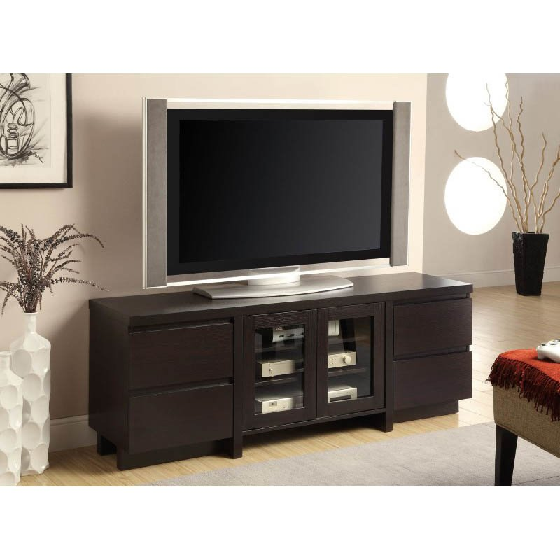 Coaster Contemporary TV Console with Glass Doors in Cappuccino