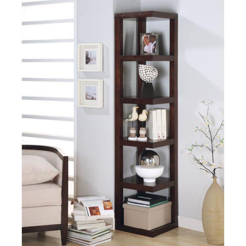 Coaster Corner Bookcase in Cappuccino