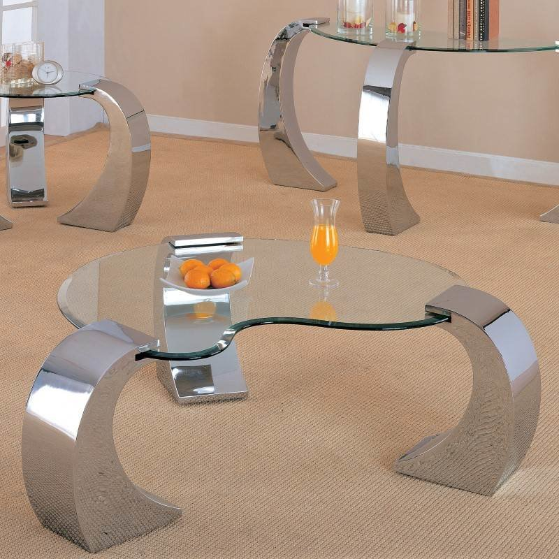 Coaster Custer Chrome Coffee Table with Metal Base and Kidney Glass Top