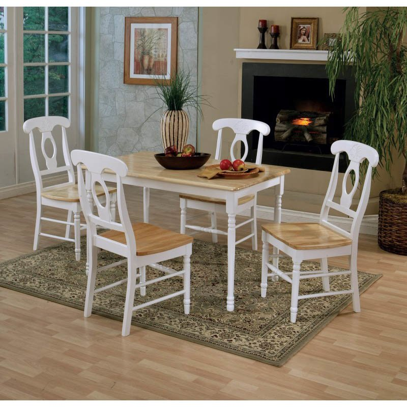 Coaster Damen Rectangular Dining Table in Warm Natural and White Wood