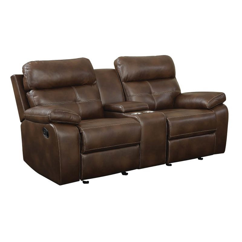 Coaster Damiano Leather Motion Glider Reclining Loveseat in Brown