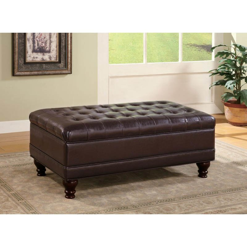 Coaster Dark Brown Traditional Oversized Faux Leather Storage Ottoman