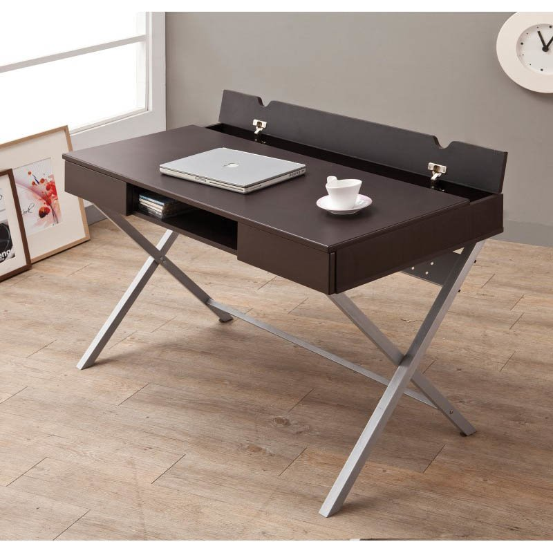 Coaster Desk with Built In Outlet in Cappuccino