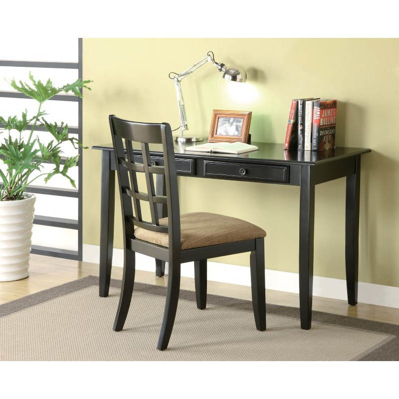 Coaster Desk with Two Drawers in Black