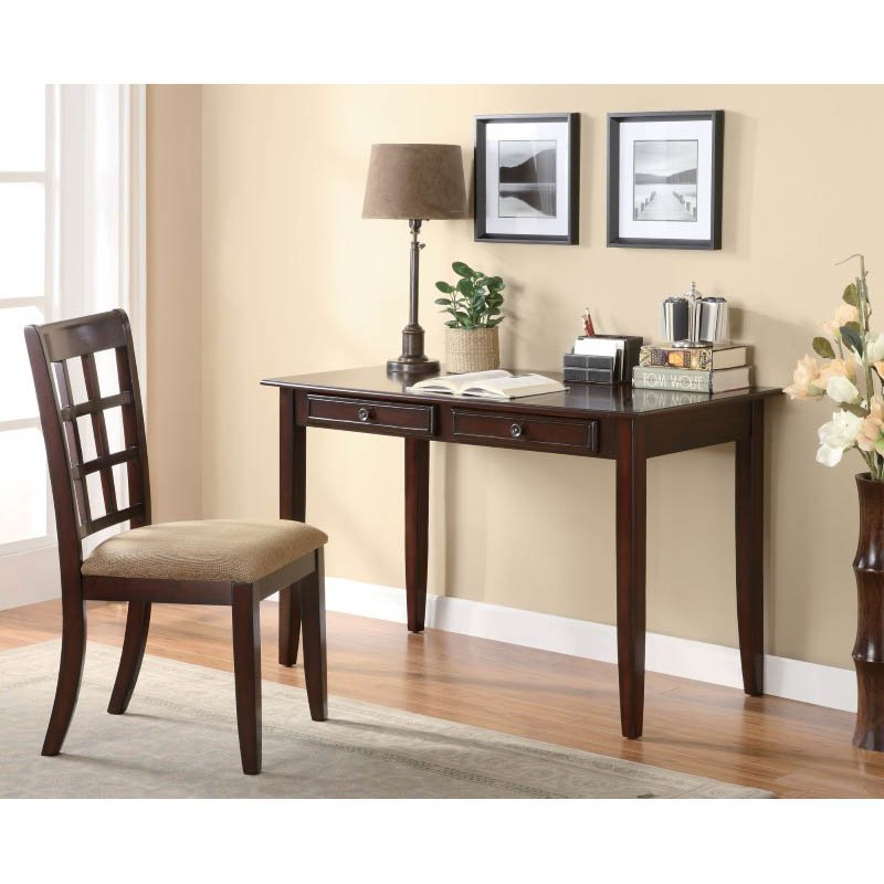Coaster Desk with Two Drawers in Brown