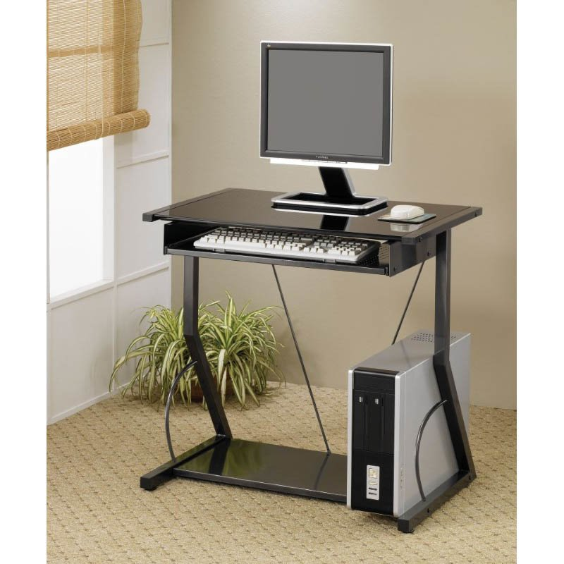 Coaster Desks Contemporary Computer Desk with Keyboard Tray in Black