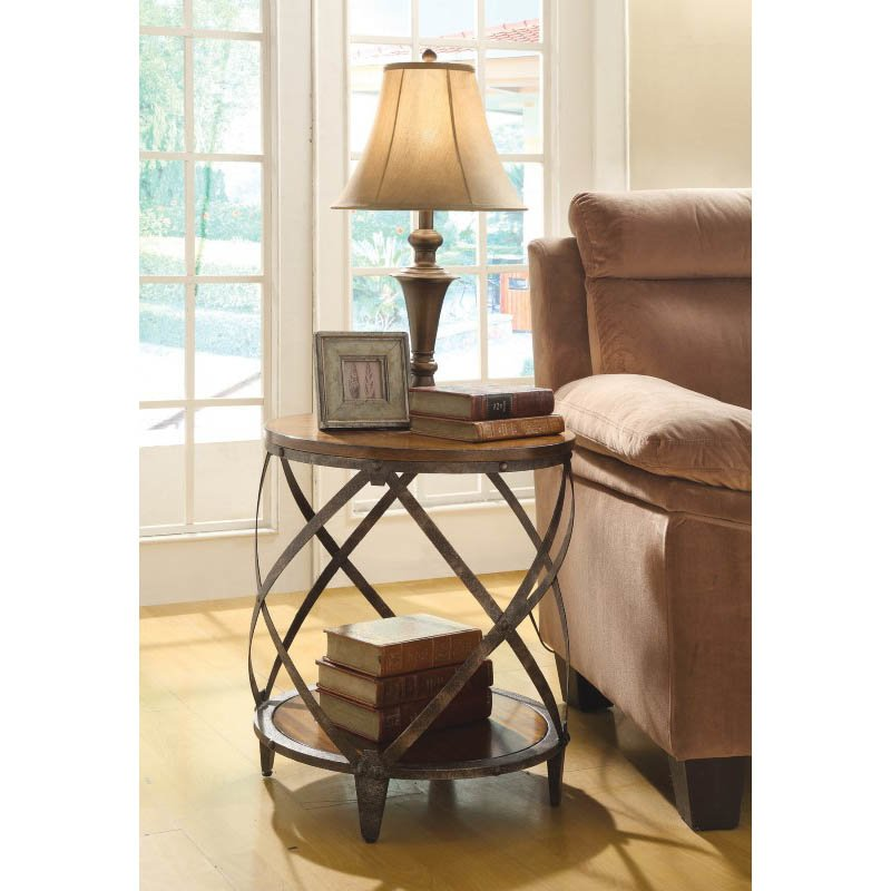Coaster Drum Shape End Table in Red Brown