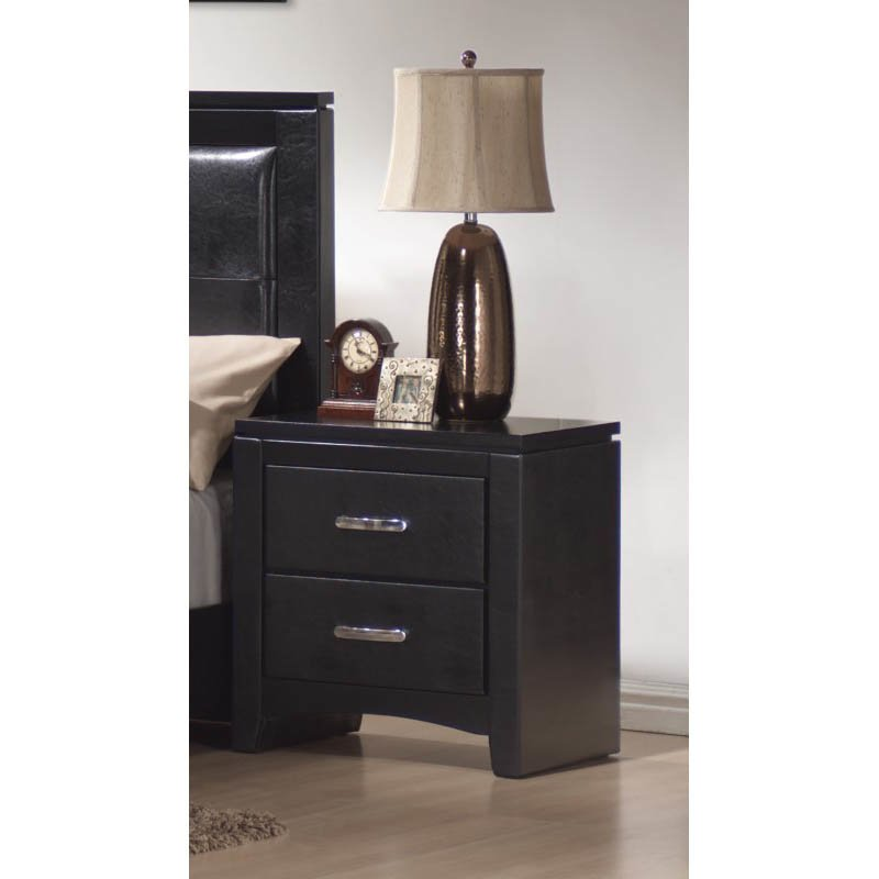 Coaster Dylan Faux Leather 2 Drawer Nightstand in Black