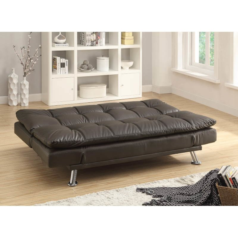 Coaster Extra Plush Convertible Armless Sofa Bed in Brown
