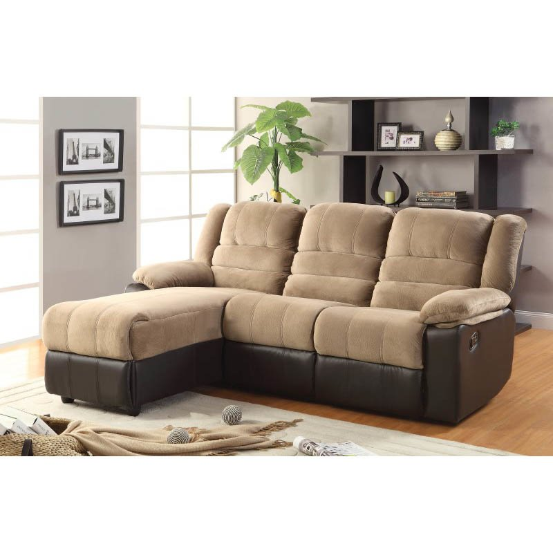 Coaster Fabric and Leather Motion Sectional in Two Tone Brown