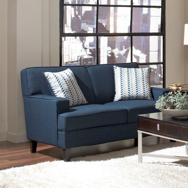 Coaster Finley Linen Love Seat in Blue