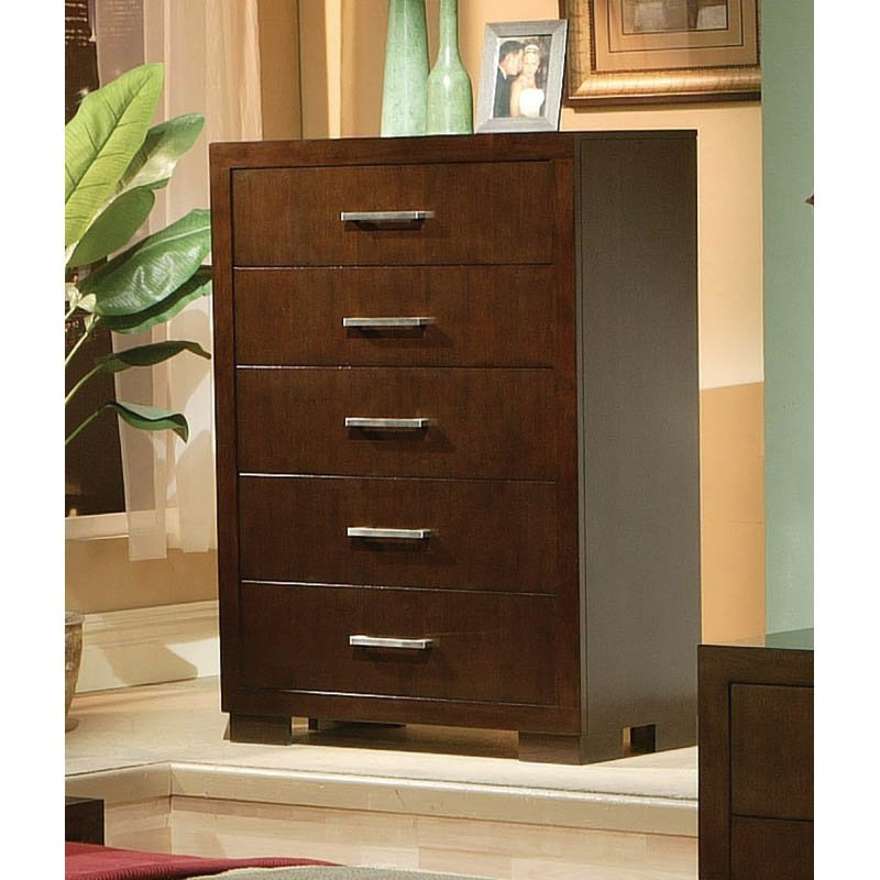 Coaster Five Drawer Chest in Light Cappuccino Finish