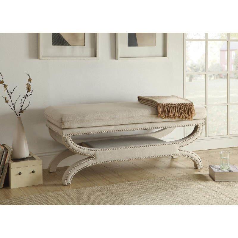 Coaster Fully Upholstered Bench in White