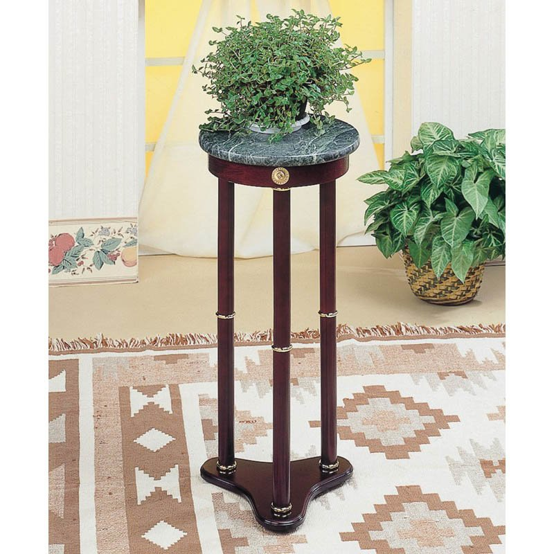 Coaster Green Round Marble Top Plant Stand in Cherry