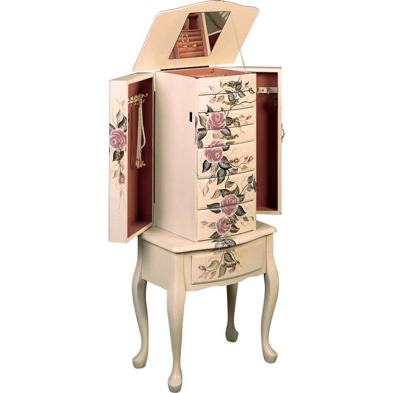 Coaster Hand Painted Rose Pattern Jewelry Armoire in White