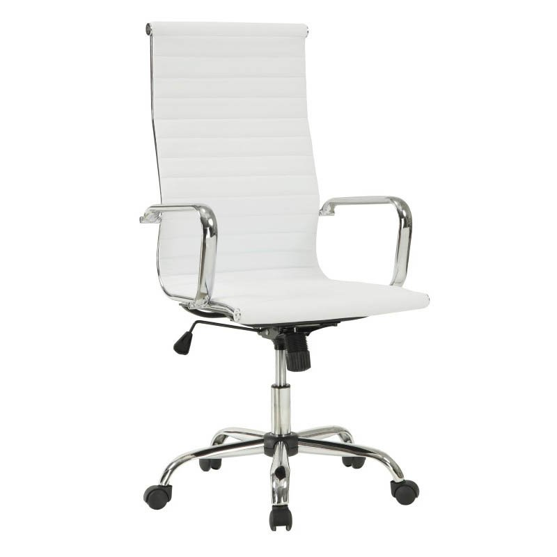 Coaster High Back Office Chair in White Chrome