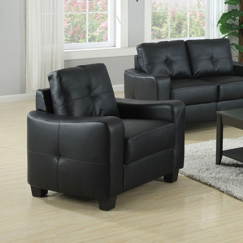 Coaster Jasmine Leather Club Chair in Black