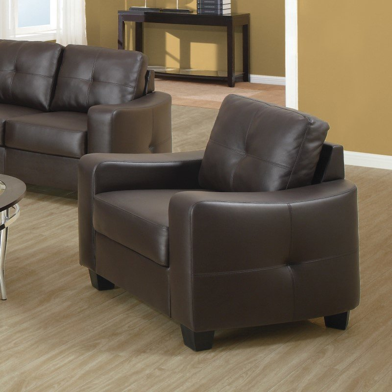 Coaster Jasmine Leather Club Chair in Brown