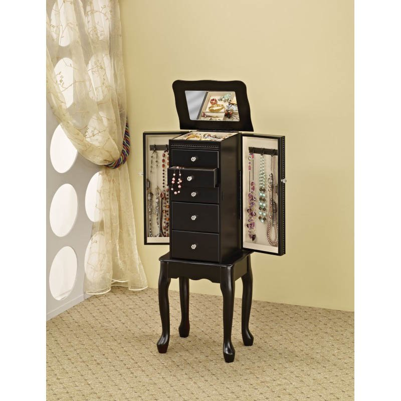 Coaster Jewelry Armoire with Flip Top Mirror in Black