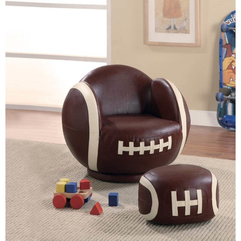 Coaster Kids Sports Chair Small Kids Football Chair and Ottoman