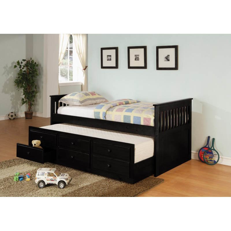Coaster La Salle Daybeds with Trundle and Storage Drawers in Black