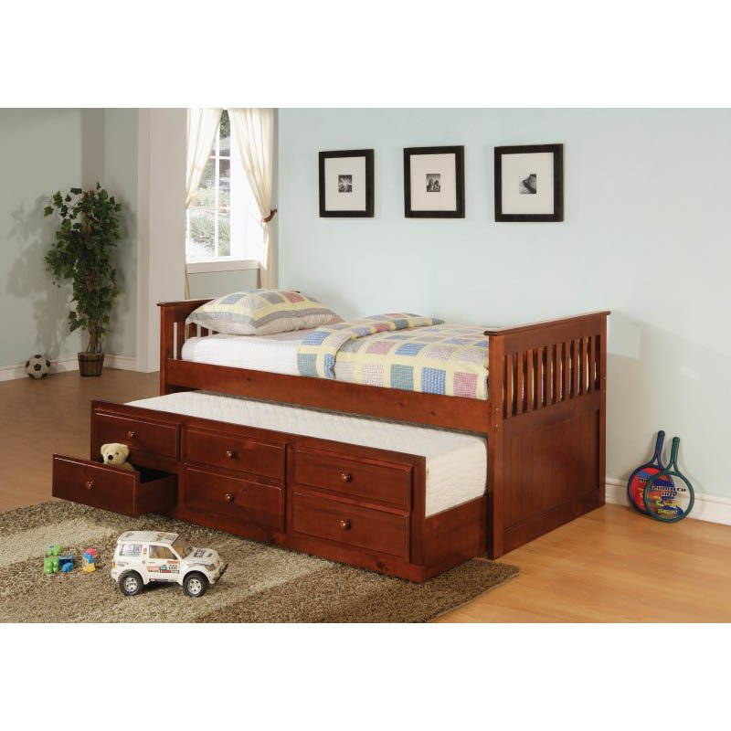 Coaster La Salle Daybeds with Trundle and Storage Drawers in Cherry