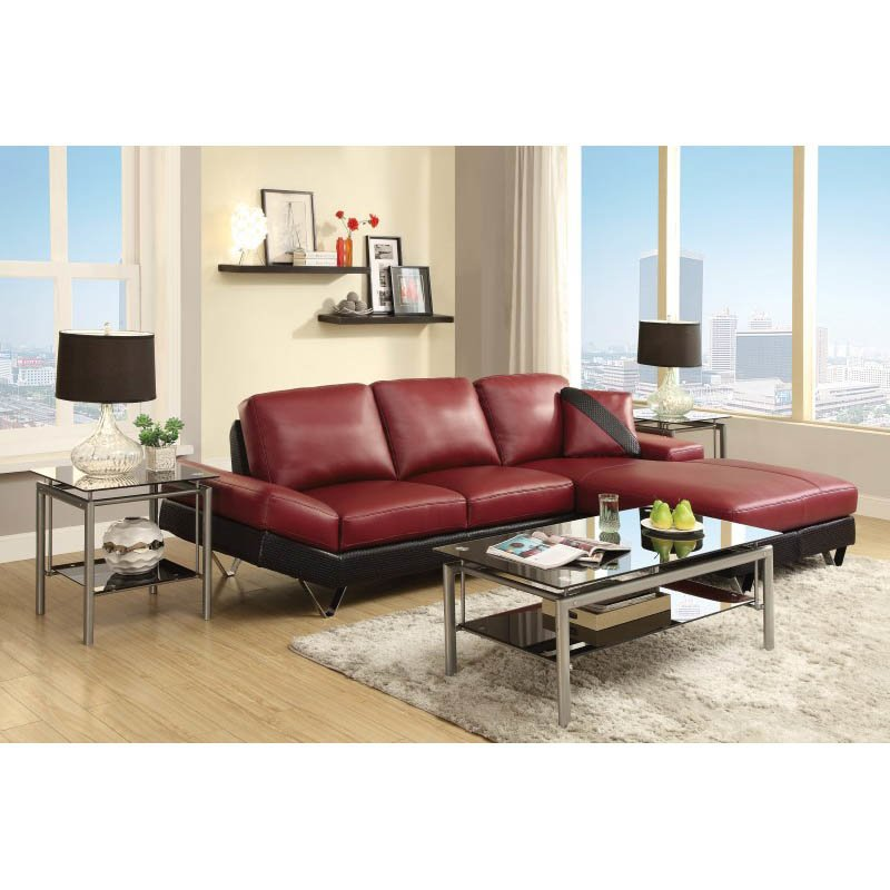 Coaster Leather Sectional in Black and Red