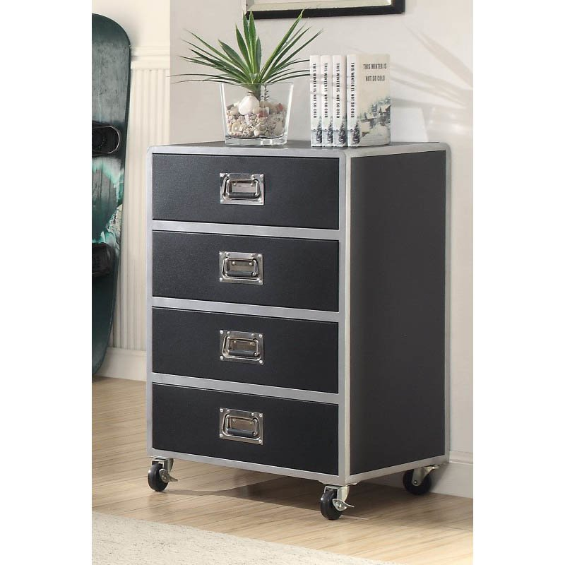 Coaster LeClair 4 Drawer Chest with Casters in Black and Silver