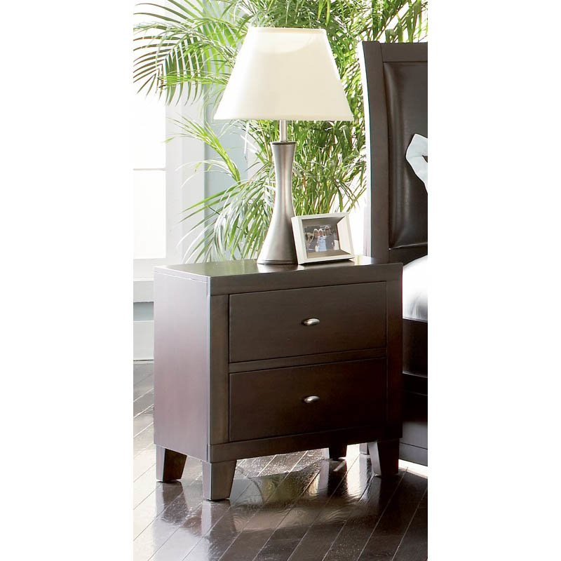 Coaster Lorretta 2 Drawer Night Stand in Dark Brown Finish