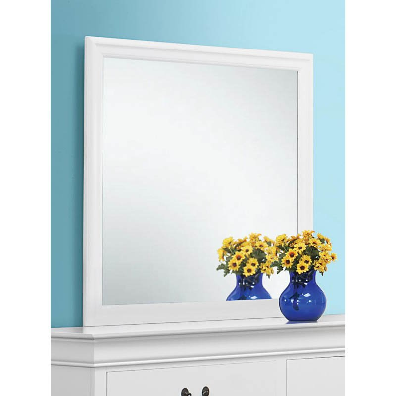 Coaster Louis Philippe Beveled Edge Mirror in White