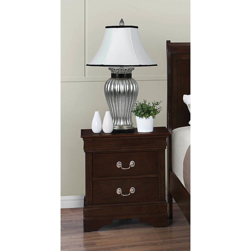 Coaster Louis Philippe Two Drawer Nightstand in Cappuccino