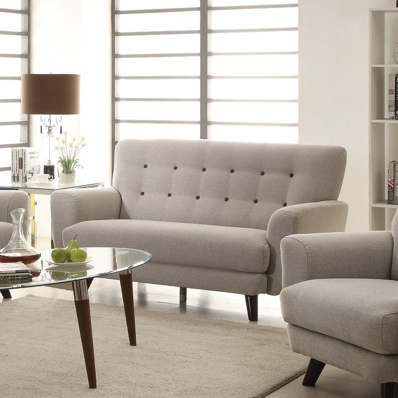 Coaster Maguire Tufted Fabric Loveseat in Grey