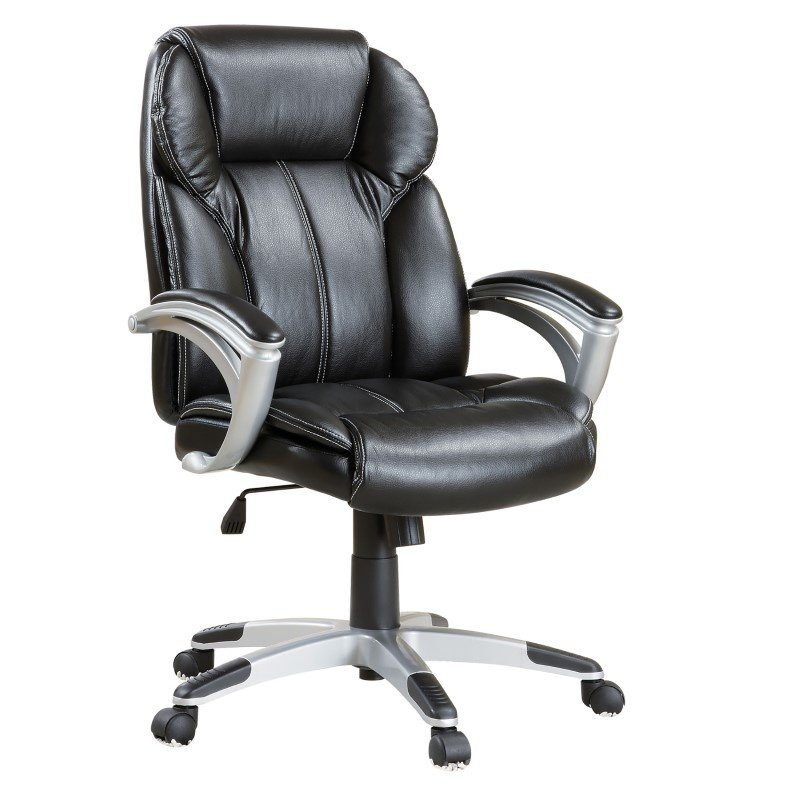 Coaster Office Chair Casual Faux Leather Office Task Chair in Black