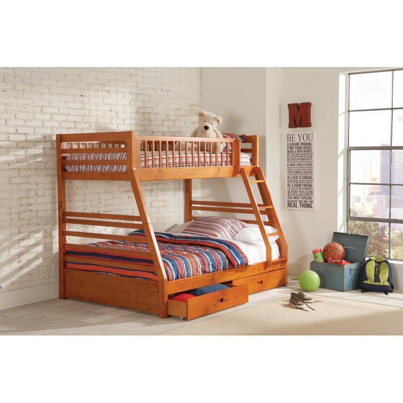 Coaster Ogletown Twin over Full Bunk Bed in Oak Finish