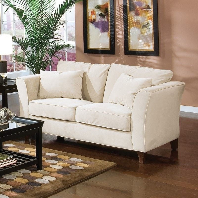Coaster Park Place Contemporary Love Seat with Flair Tapered Arms and Accent Pillows