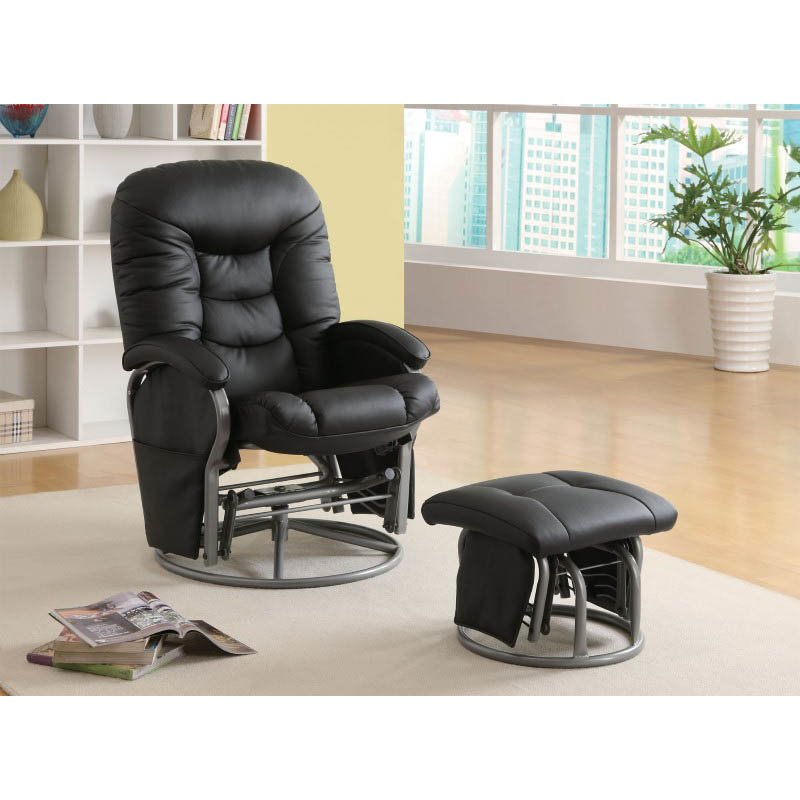 Coaster Recliner with Ottoman Casual Glider Recliner Chair in Black Leatherette