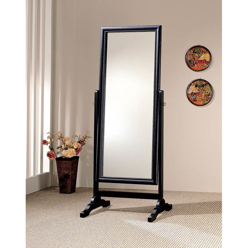 Coaster Rectangular Grand Cheval Mirror in Black